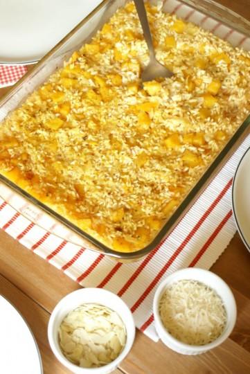 pieczone risotto z dynią i migdałami