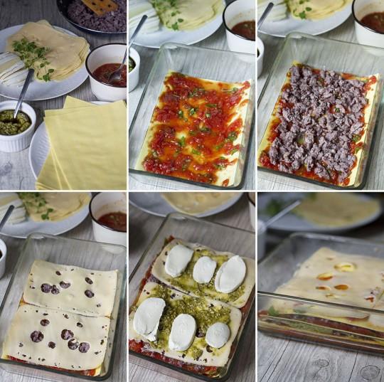 Lasagne z mięsem i pesto