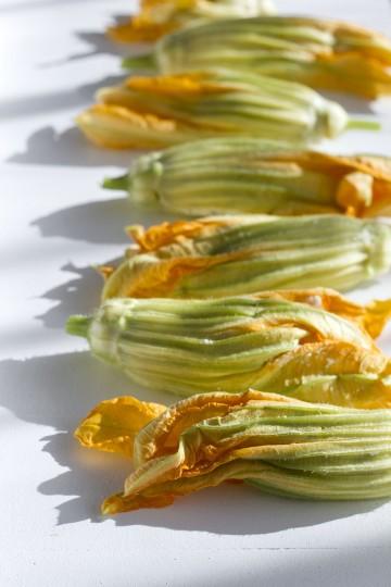 Smażone kwiaty cukinii nadziewane ricottą