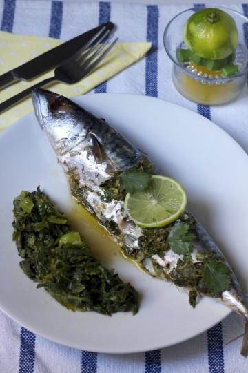 Pieczona makrela z kolendrą