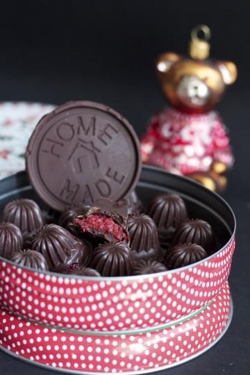czekoladki z malinami