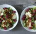Sałatka z grillowanym halloumi, kurkami i malinami